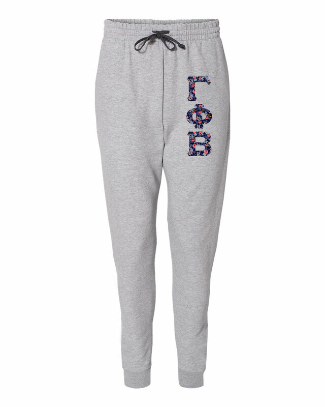 gamma phi beta lettered joggers 3 letters