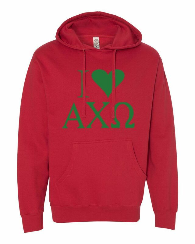 I Love Alpha Chi Omega Hooded Sweathirts
