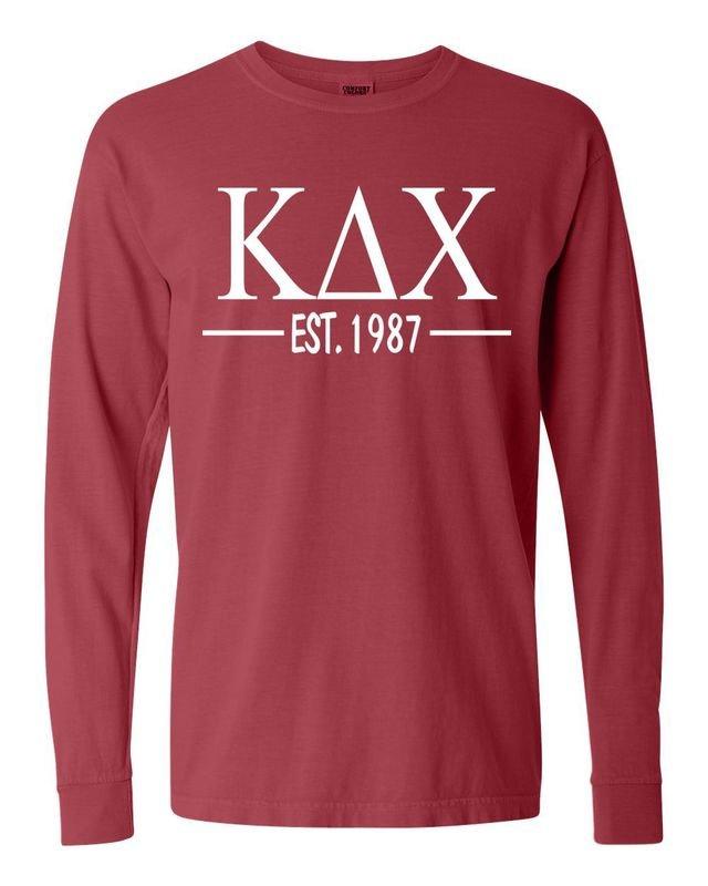 Kappa Delta Chi Custom Greek Lettered Long Sleeve T-Shirt - Comfort Colors