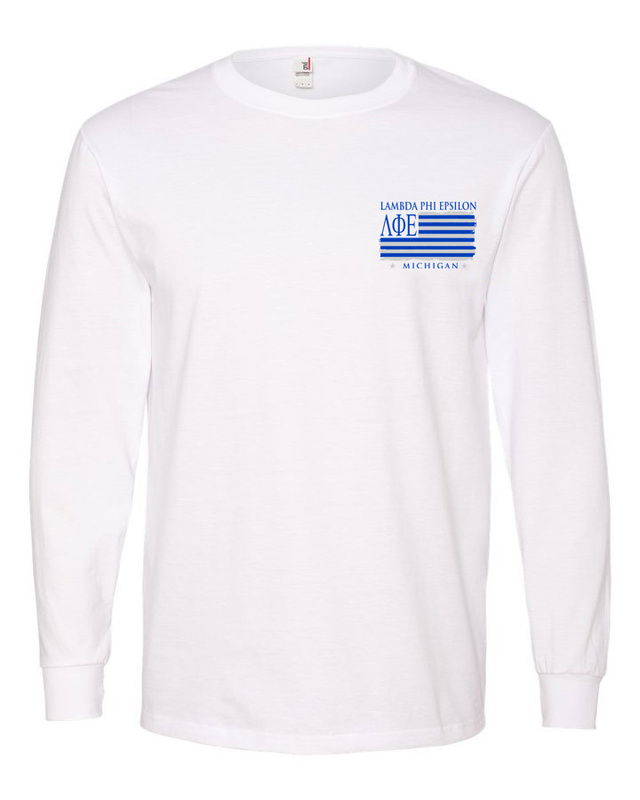 Lambda Phi Epsilon Stripes Long Sleeve T-shirt - Comfort Colors