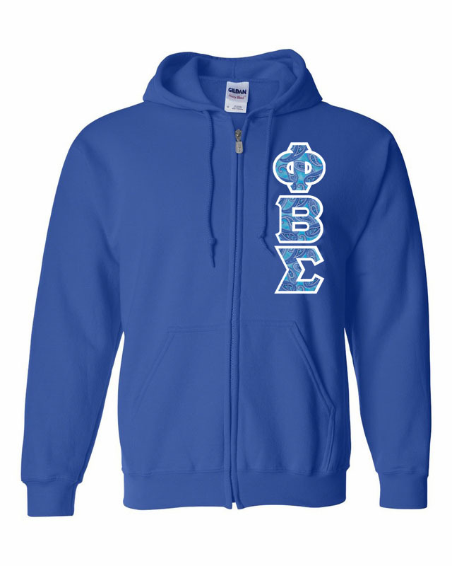 "Phi Beta Sigma Heavy Full-Zip Hooded Sweatshirt - 3"" Letters!"