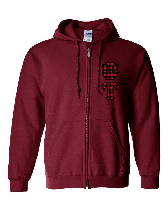 "Psi Upsilon Heavy Full-Zip Hooded Sweatshirt - 3"" Letters!"