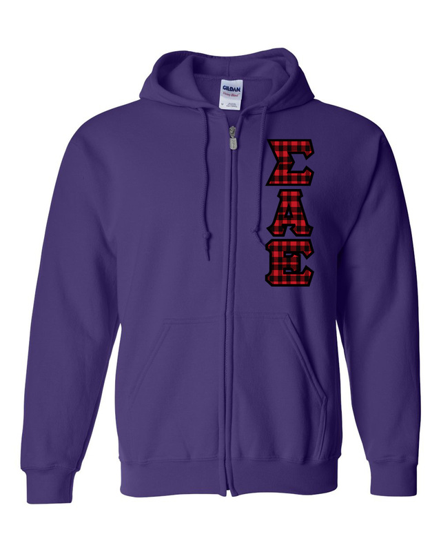 "Sigma Alpha Epsilon Heavy Full-Zip Hooded Sweatshirt - 3"" Letters!"