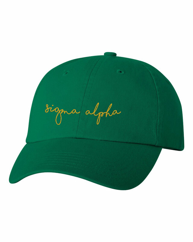 Sigma Alpha Smiling Script Greek Hat