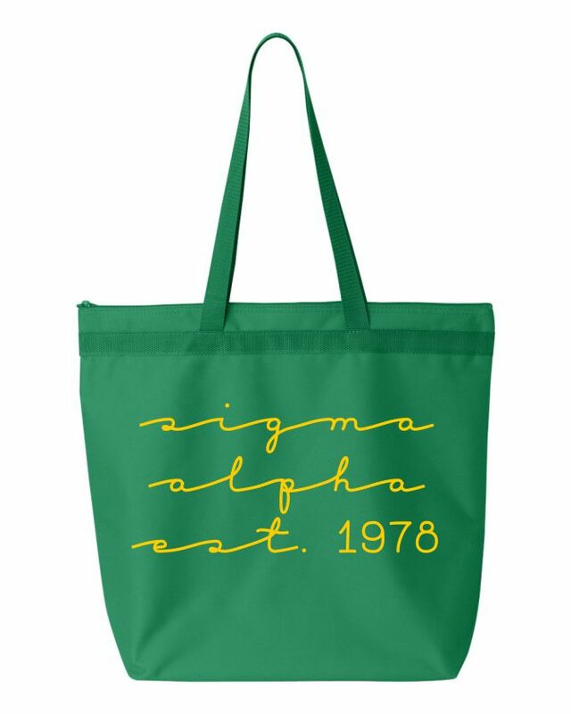 Sigma Alpha New Script Established Tote Bag