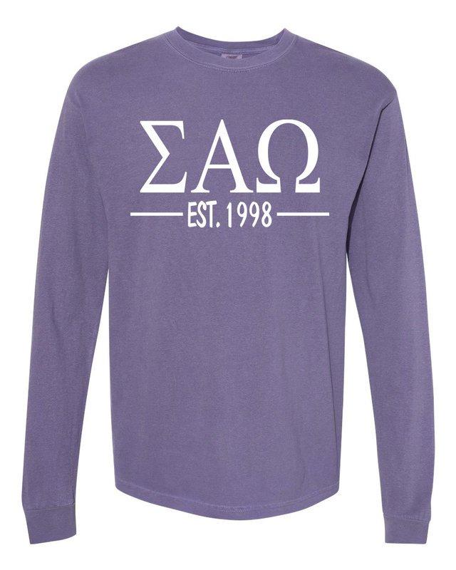 Sigma Alpha Omega Custom Greek Lettered Long Sleeve T-Shirt - Comfort Colors