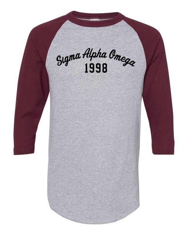 Sigma Alpha Omega Script Established Raglan