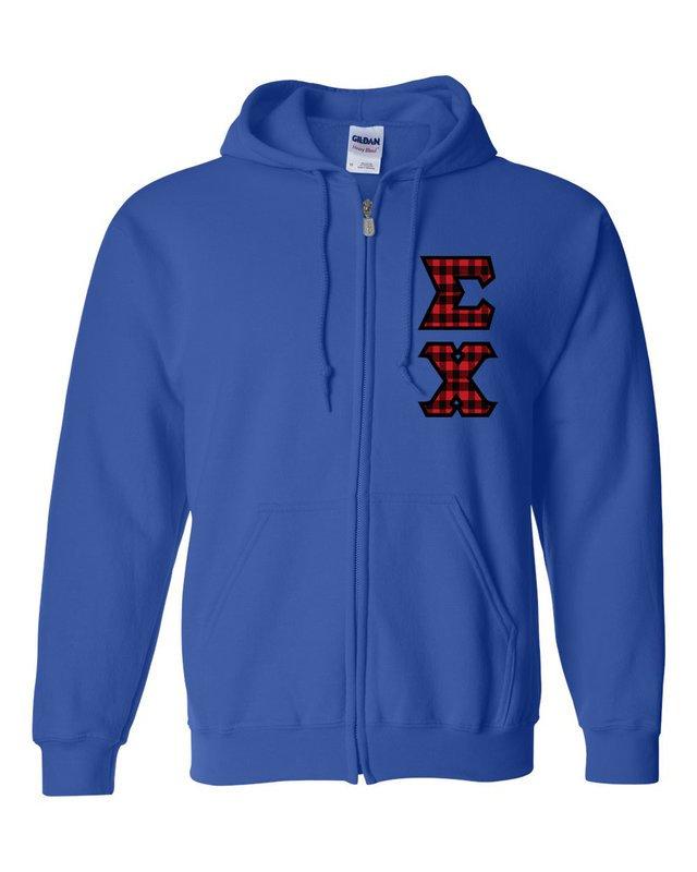"Sigma Chi Heavy Full-Zip Hooded Sweatshirt - 3"" Letters!"
