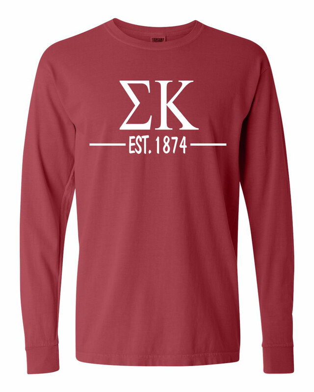 Sigma Kappa Custom Greek Lettered Long Sleeve T-Shirt - Comfort Colors