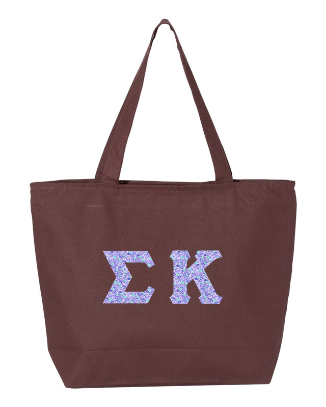 Sigma Kappa Greek Letter Zipper Tote