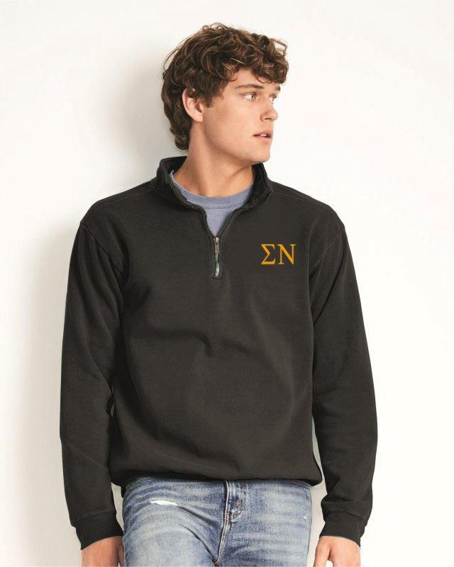 Sigma Nu Comfort Colors Garment-Dyed Quarter Zip Sweatshirt