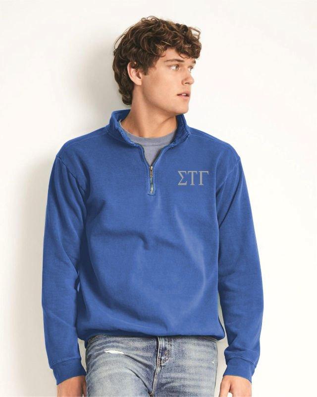 Sigma Tau Gamma Comfort Colors Garment-Dyed Quarter Zip Sweatshirt
