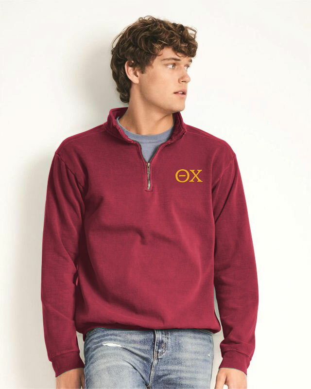 Theta Chi Comfort Colors Garment-Dyed Quarter Zip Sweatshirt