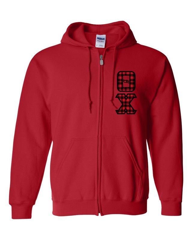 "Theta Chi Heavy Full-Zip Hooded Sweatshirt - 3"" Letters!"