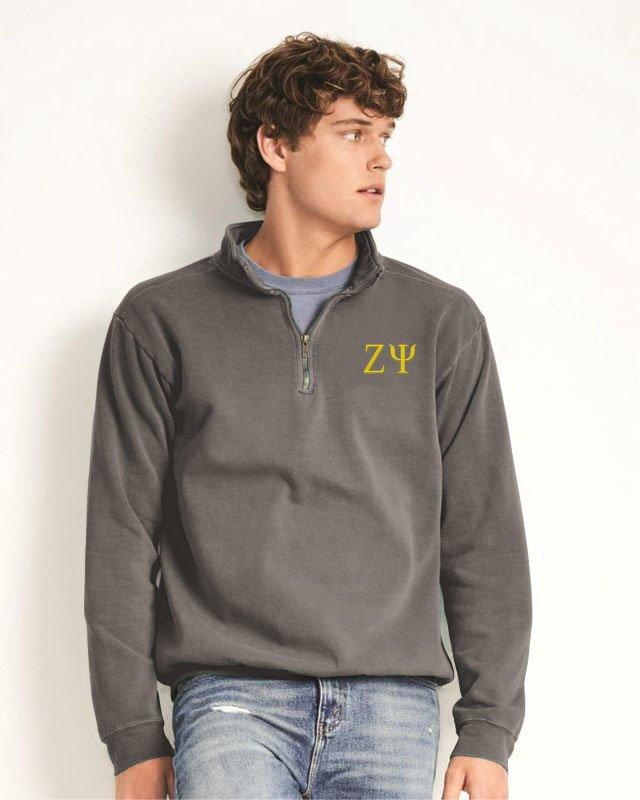 Zeta Psi Comfort Colors Garment-Dyed Quarter Zip Sweatshirt
