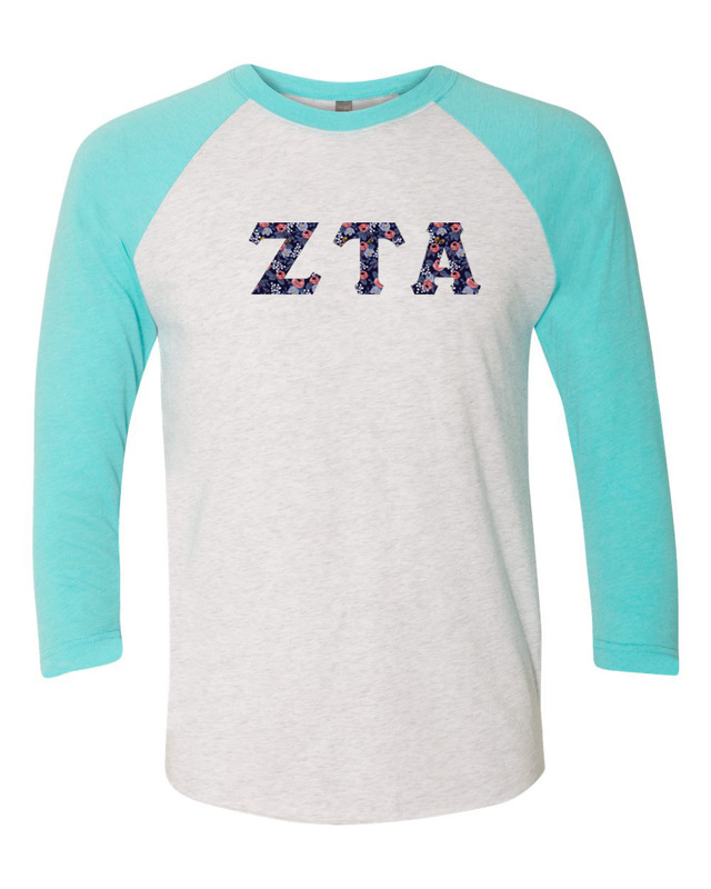 Zeta Tau Alpha Unisex Tri-Blend Three-Quarter Sleeve Baseball Raglan Tee