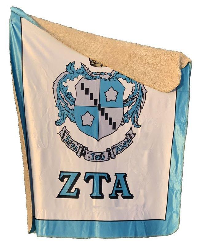 Greek Crest Sherpa Lap Blanket