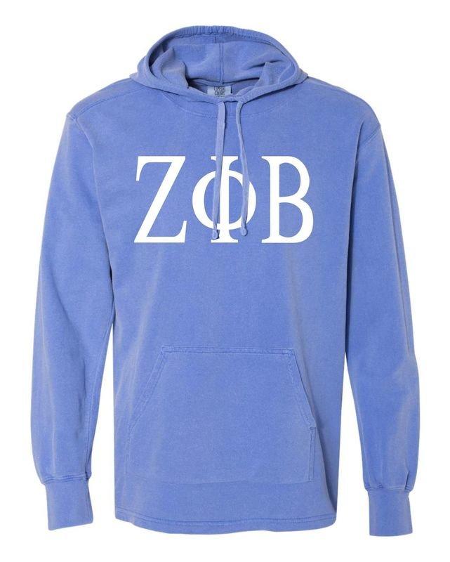 Zeta Phi Beta Comfort Colors - Terry Scuba Neck Greek Hooded Pullover