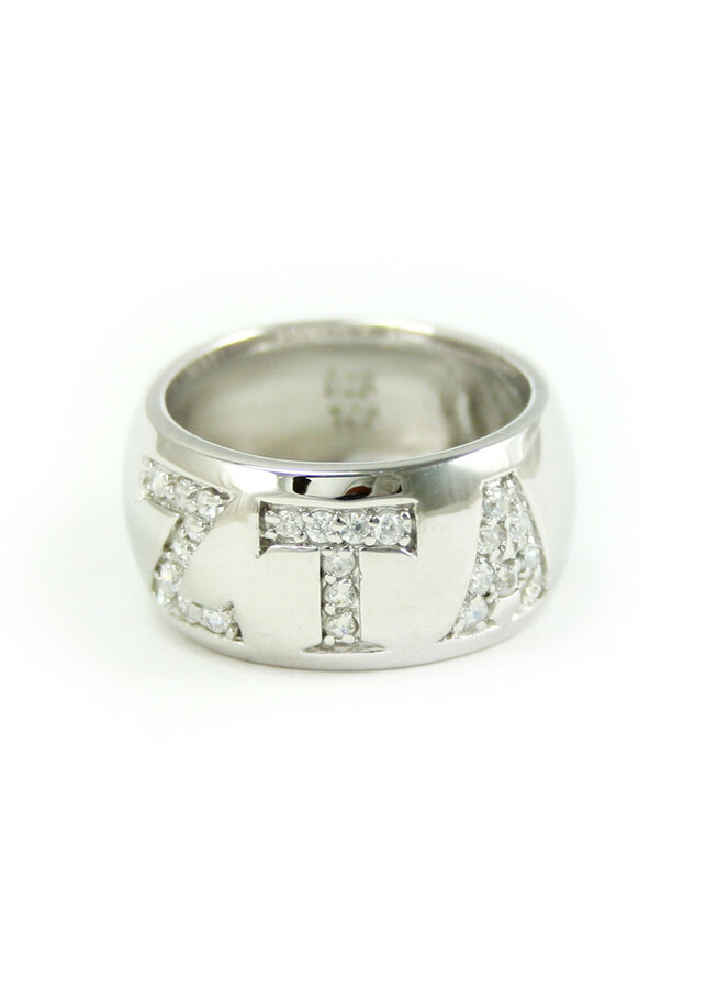 Sterling silver ring with CZ pavé Greek letters