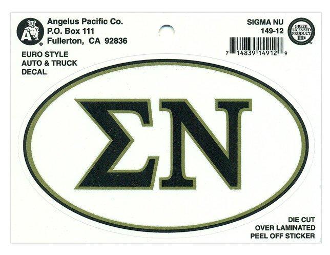 Sigma Nu Euro Decal Oval Sticker