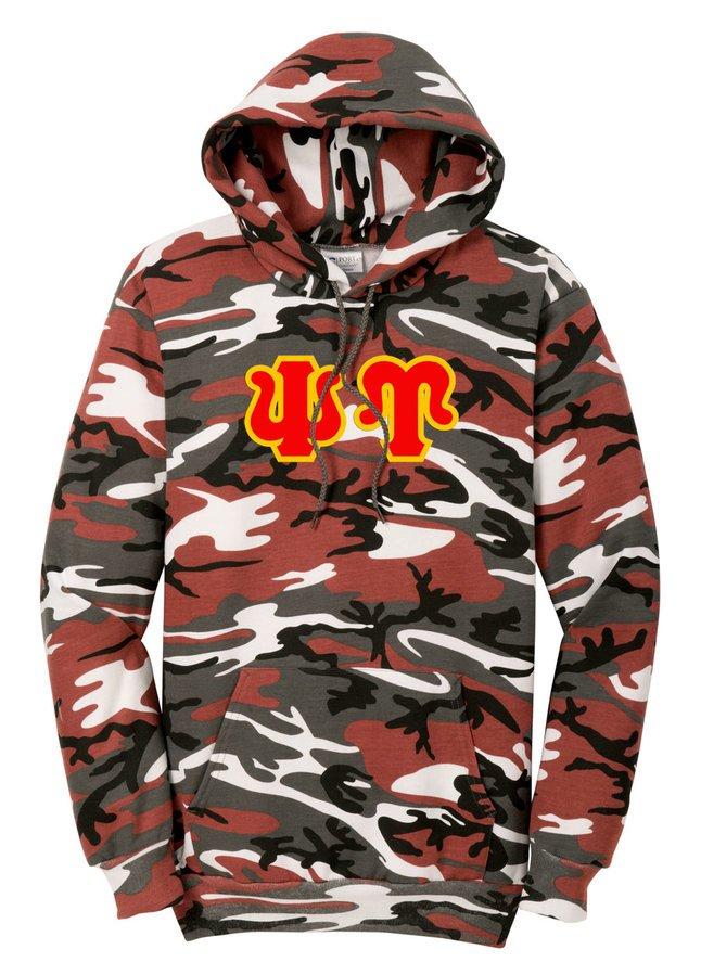 DISCOUNT-Psi Upsilon Camo Pullover Hooded Sweatshirt