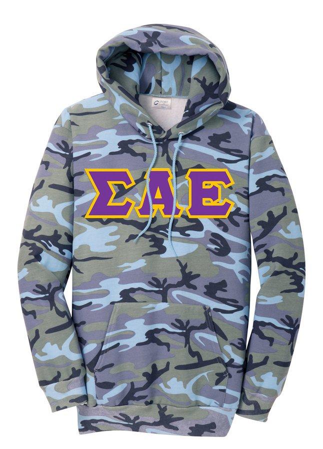 DISCOUNT-Sigma Alpha Epsilon Camo Pullover Hooded Sweatshirt