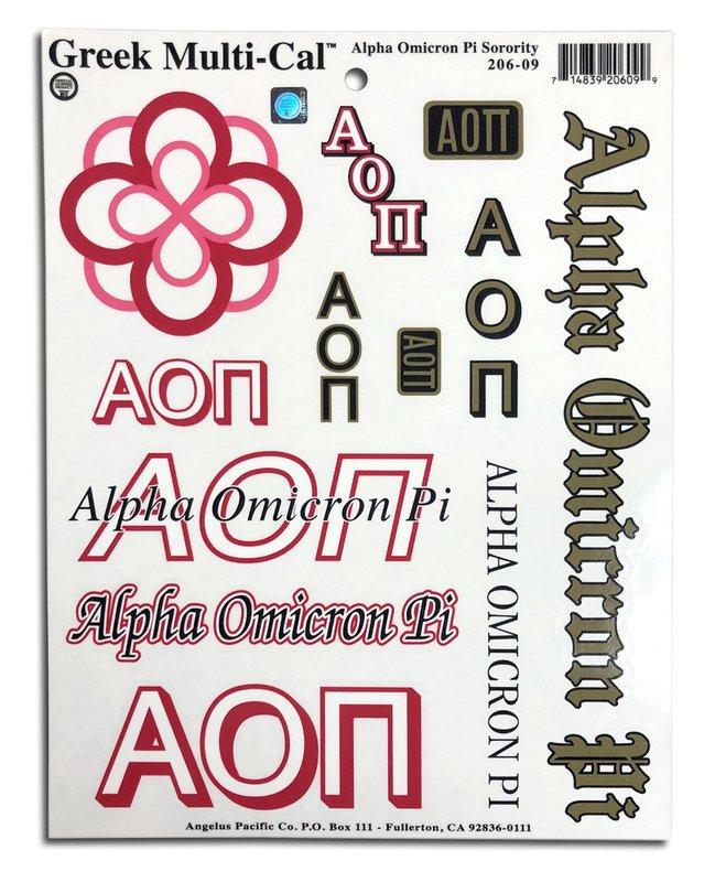 Alpha Omicron Pi Multi Greek Decal Sheet