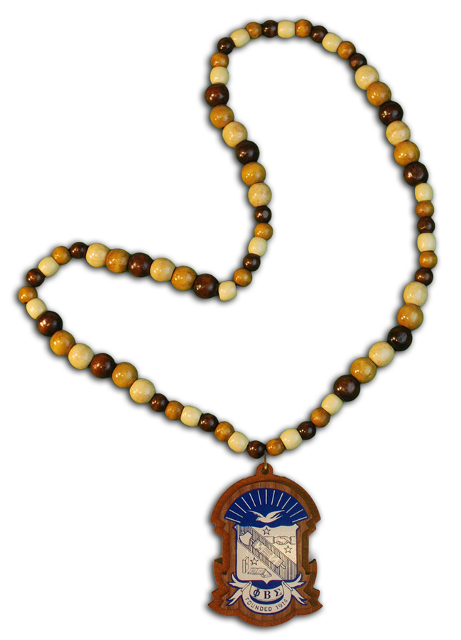 Wood Bead Greek Tiki Crest - Shield Necklace