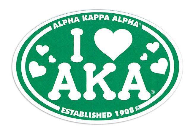 Alpha Kappa Alpha I Love Sorority Sticker - Oval
