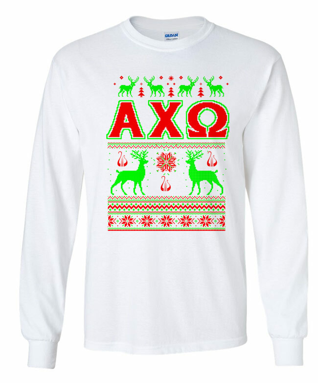Alpha Chi Omega Ugly Christmas Sweater Long Sleeve T-Shirt