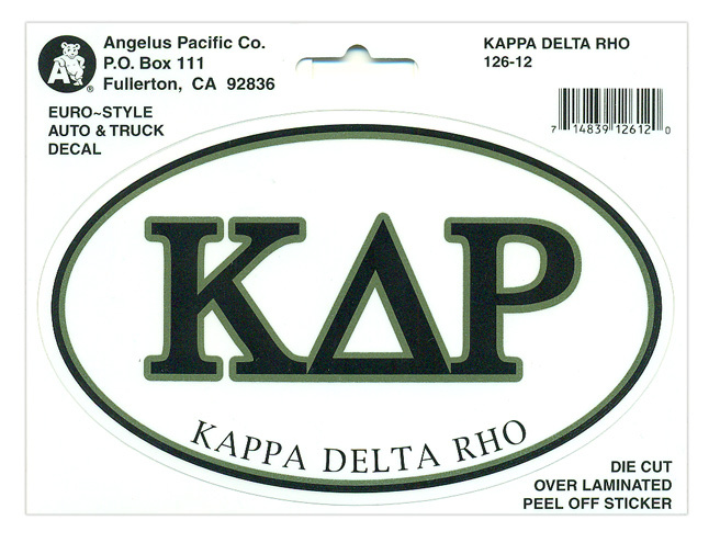 Kappa Delta Rho Euro Decal Oval Sticker