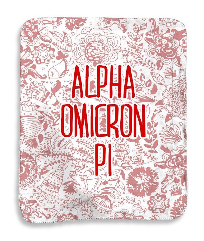 Alpha Omicron Pi Floral Sherpa Lap Blanket