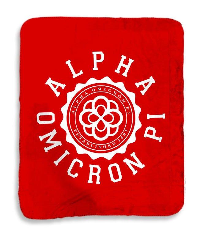 Alpha Omicron Pi Seal Sherpa Lap Blanket