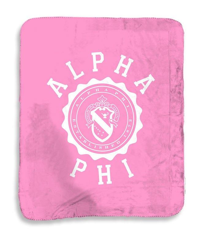 Alpha Phi Seal Sherpa Lap Blanket