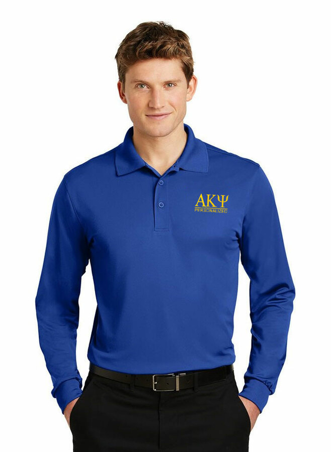 Alpha Kappa Psi- $35 World Famous Long Sleeve Dry Fit Polo