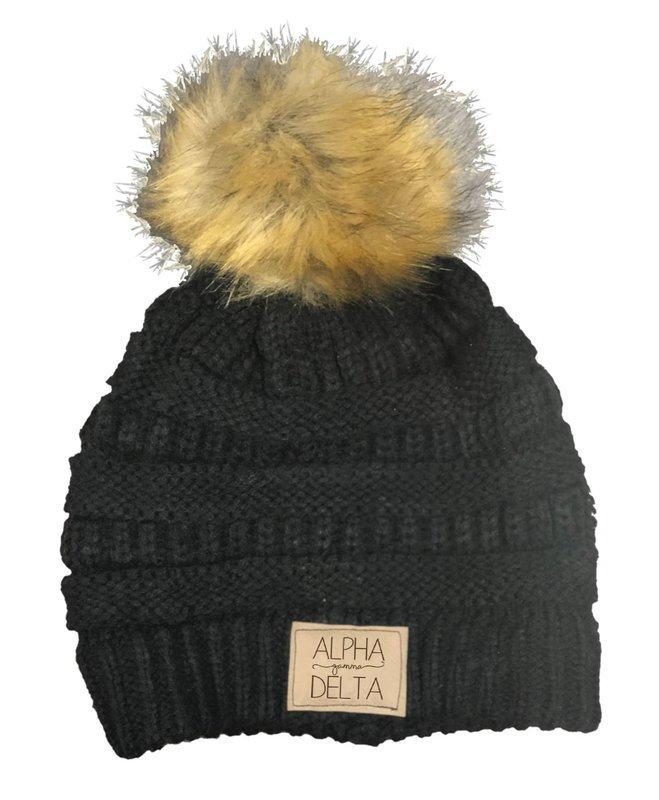 Alpha Gamma Delta CC Beanie with Faux Fur Pom