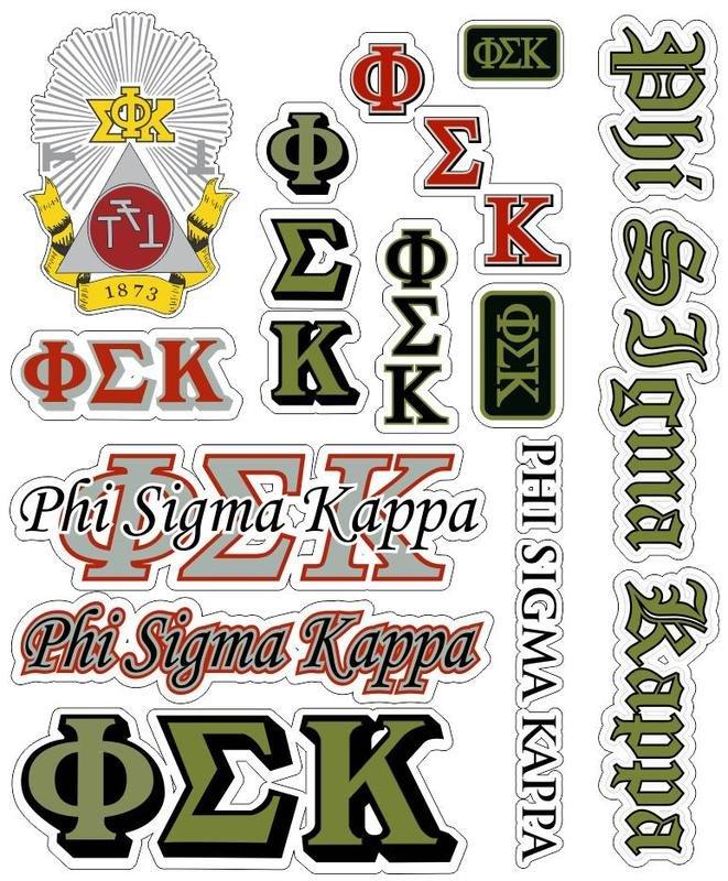 Phi Sigma Kappa Multi Greek Decal Sticker Sheet