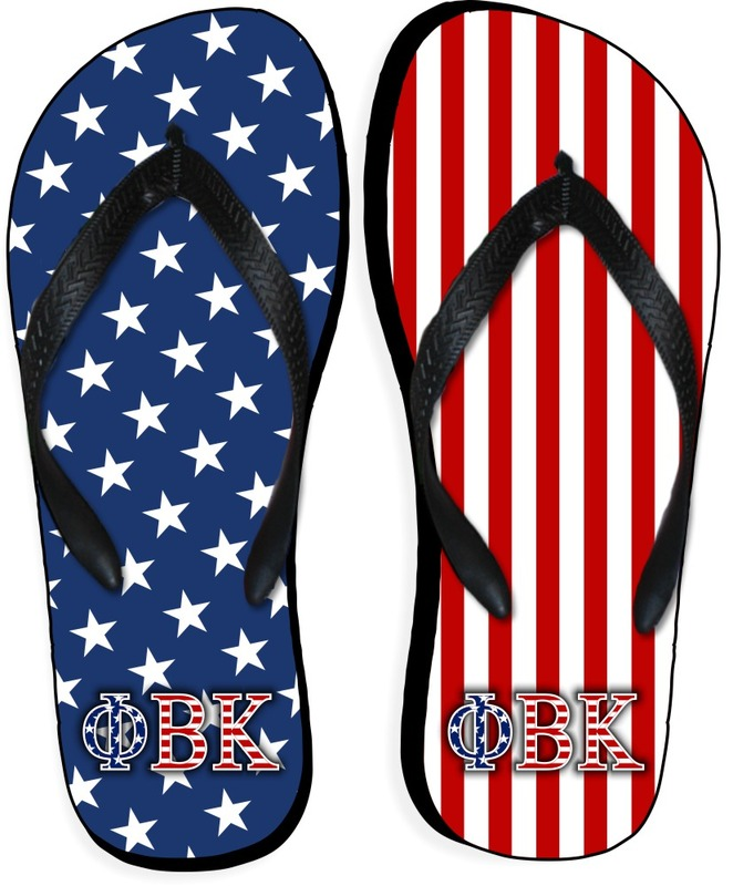 Phi Beta Kappa American Flag Flip Flops