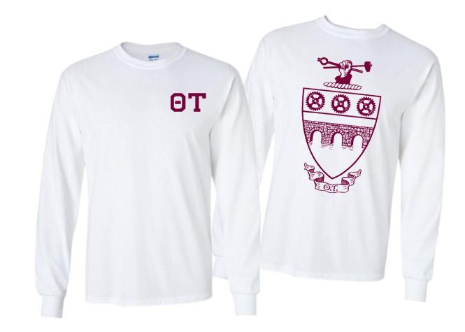 Theta Tau World Famous Crest - Shield Long Sleeve T-Shirt- $19.95!