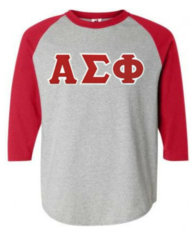 DISCOUNT- Alpha Sigma Phi Lettered Raglan T-Shirt