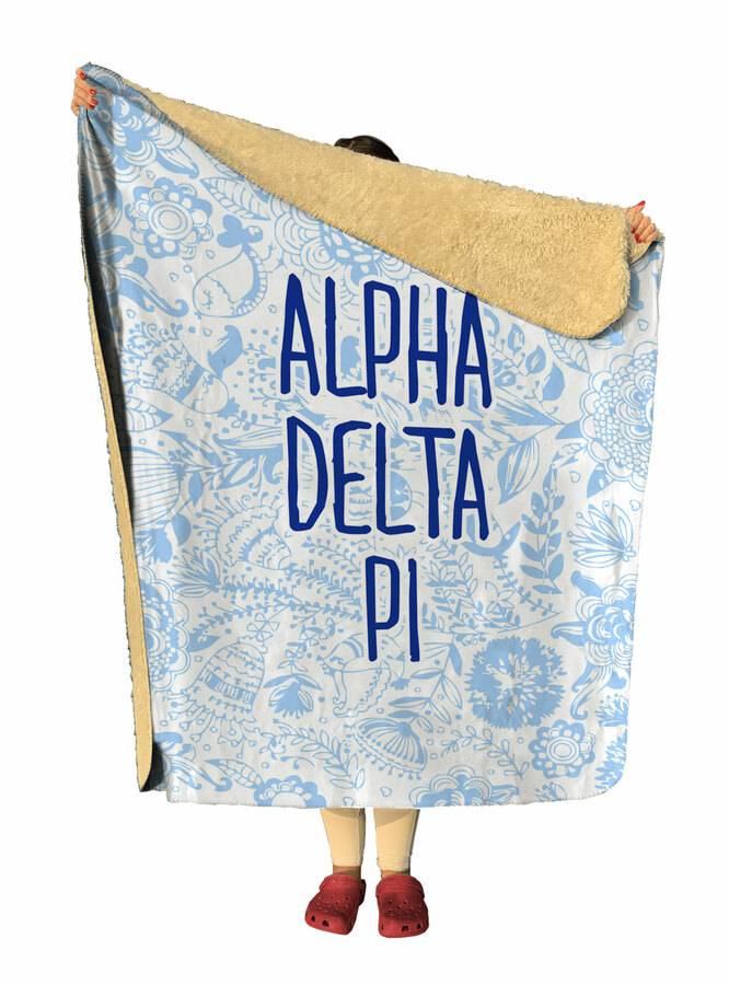 Alpha Delta Pi Floral Sherpa Lap Blanket