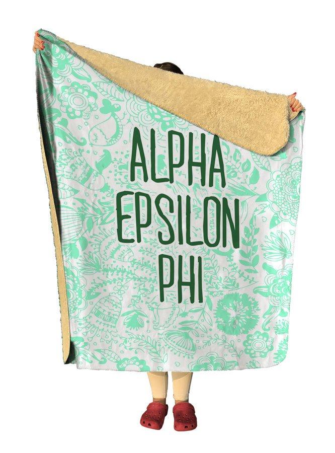 Alpha Epsilon Phi Floral Sherpa Lap Blanket