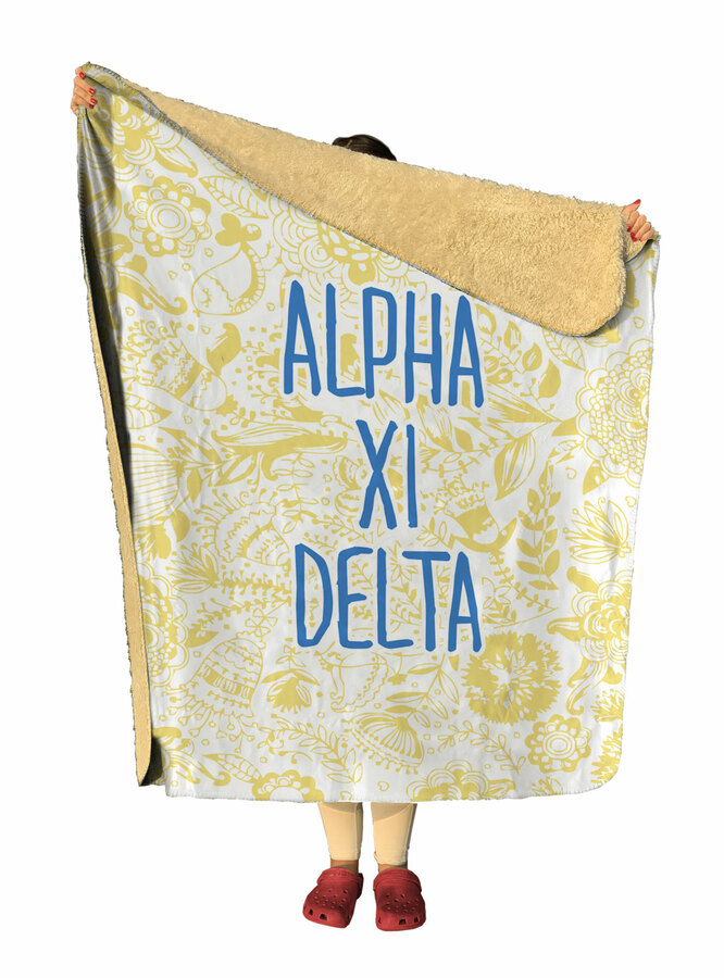 Alpha Xi Delta Floral Sherpa Lap Blanket