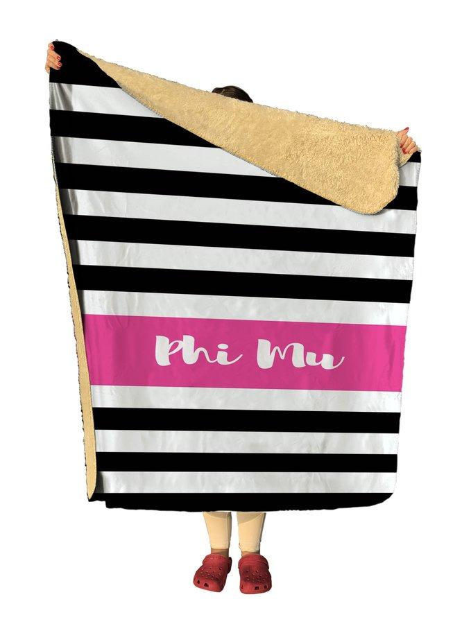 Phi Mu Stripes Sherpa Lap Blanket