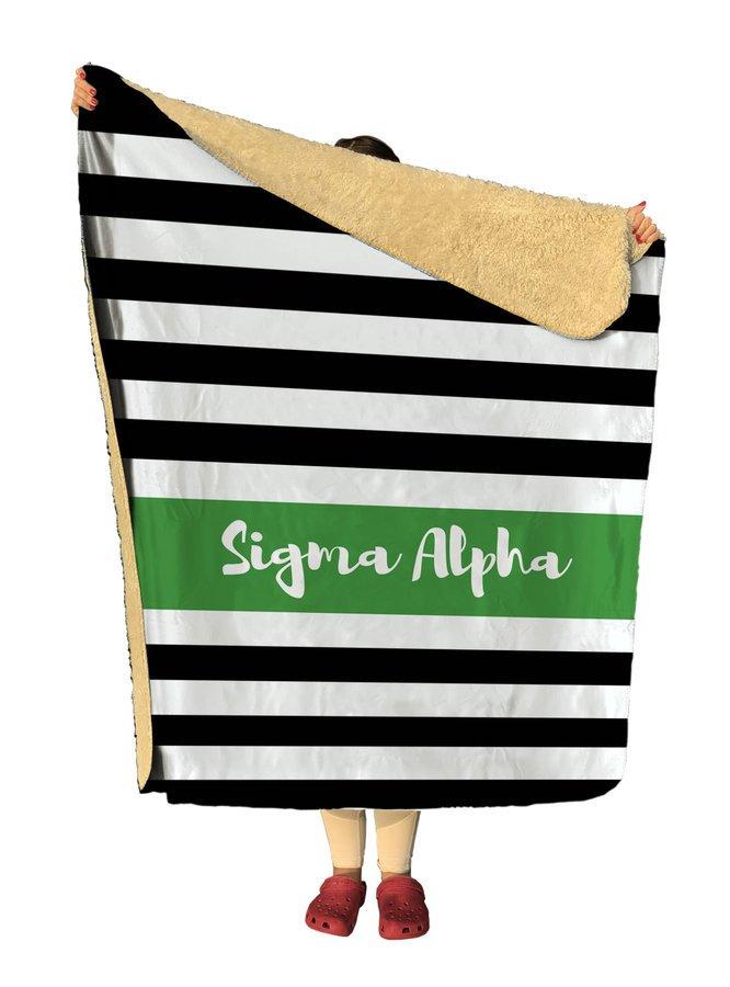 Sigma Alpha Stripes Sherpa Lap Blanket