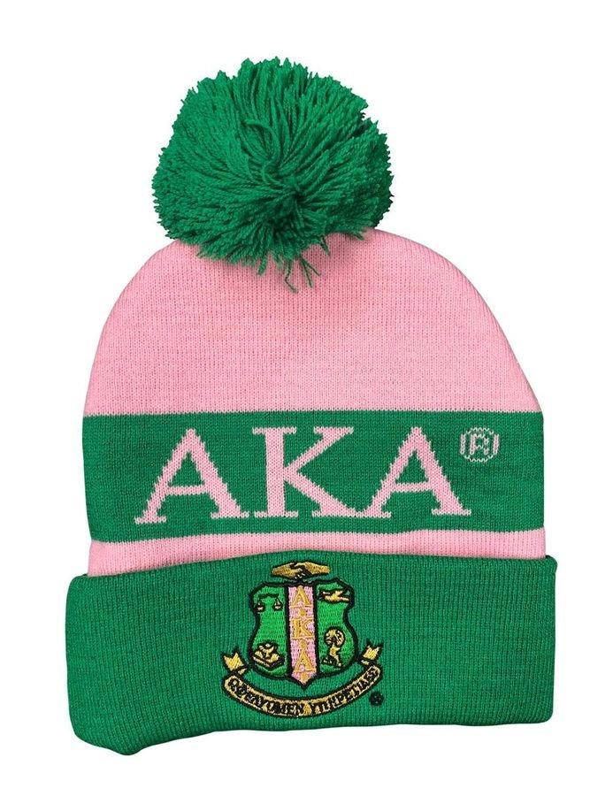 Alpha Kappa Alpha Knit Beanie With Pompon