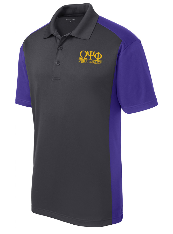 Omega Psi Phi- $30 World Famous Greek Colorblock Wicking Polo