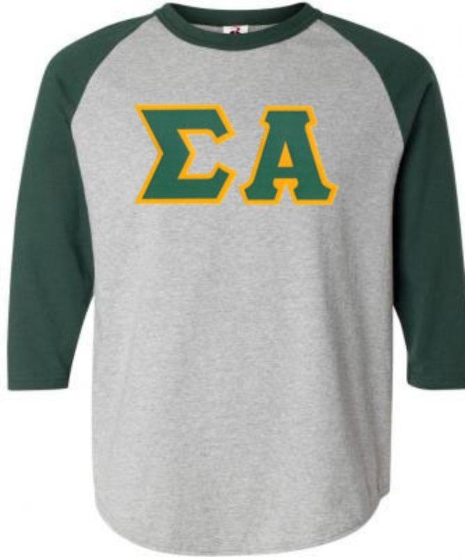 DISCOUNT-Sigma Alpha Lettered Raglan Shirt