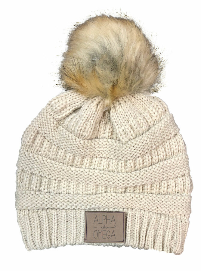 Alpha Chi Omega CC Beanie with Faux Fur Pom