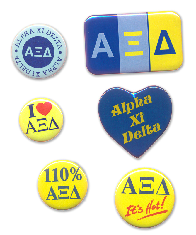 Alpha Xi Delta Sorority Buttons 6-Pack